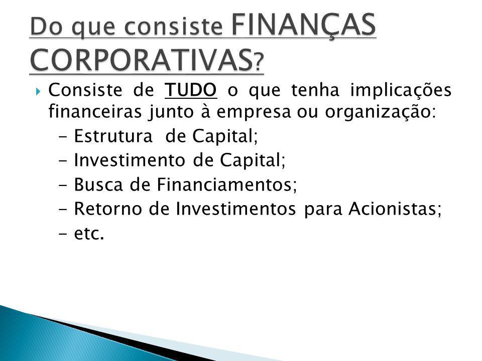 Consiste de TUDO o que tenha implicações financeiras junto à empresa ou organização: - Estrutura de Capital; - Investimento de Capital; - Busca de Financiamentos; - Retorno de Investimentos para Acionistas; - etc.