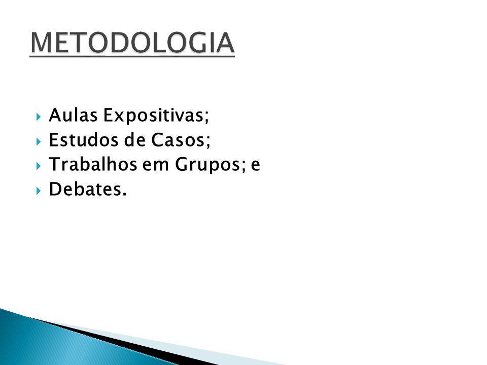 Aulas Expositivas; Estudos de Casos; Trabalhos em Grupos; e Debates.