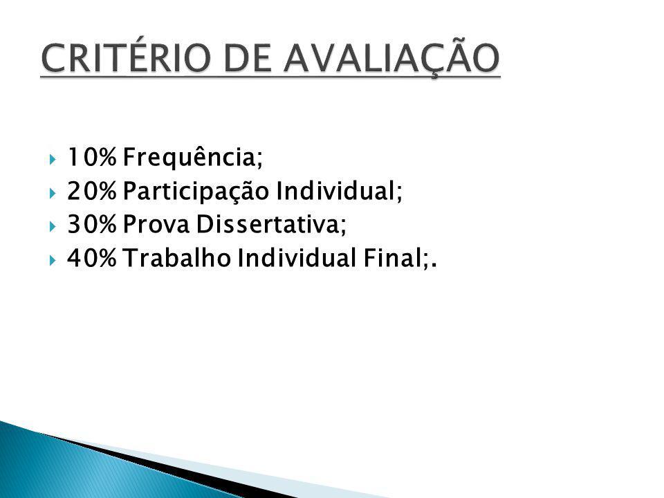 10% Frequência; 20% Participação Individual; 30% Prova Dissertativa; 40% Trabalho Individual Final;.