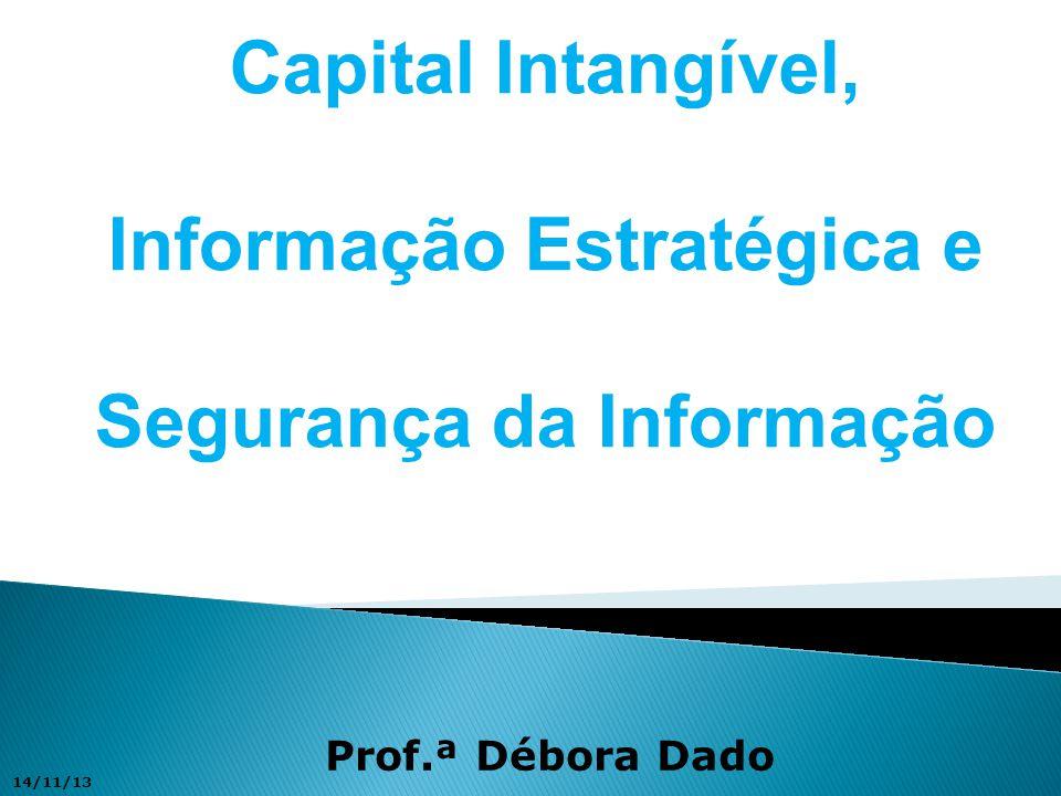 Capital Intangível, Informação Estratégica e Segurança da Informação Prof.ª Débora Dado 14/11/13