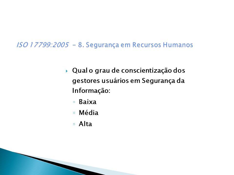 Qual o grau de conscientização dos gestores usuários em Segurança da Informação: Baixa Média Alta