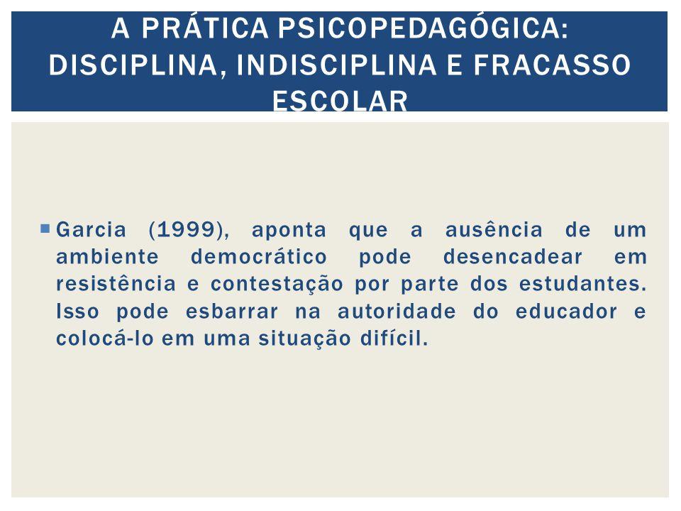 Garcia (1999), aponta que a ausência de um ambiente democrático pode desencadear em resistência e contestação por parte dos estudantes.