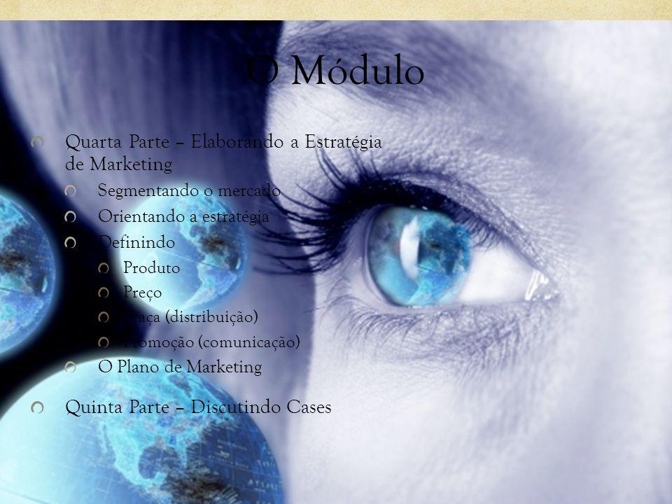 O Módulo Quarta Parte – Elaborando a Estratégia de Marketing Segmentando o mercado Orientando a estratégia Definindo Produto Preço Praça (distribuição) Promoção (comunicação) O Plano de Marketing Quinta Parte – Discutindo Cases