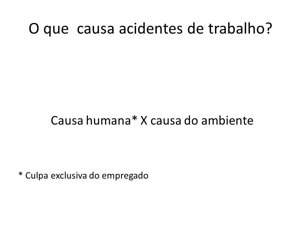 Causa humana* X causa do ambiente * Culpa exclusiva do empregado O que causa acidentes de trabalho