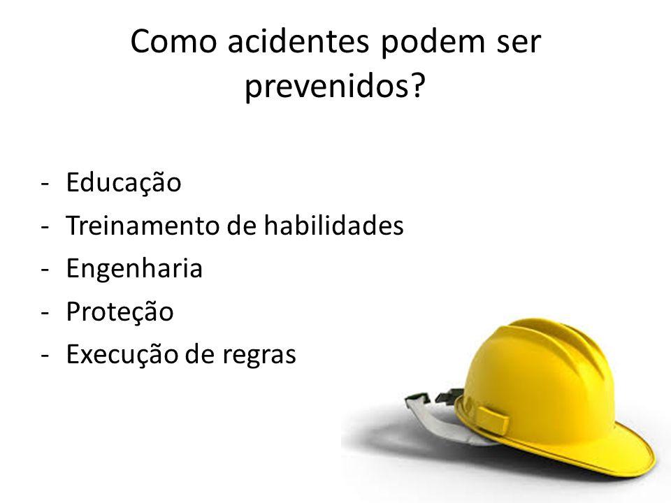 -Educação -Treinamento de habilidades -Engenharia -Proteção -Execução de regras Como acidentes podem ser prevenidos