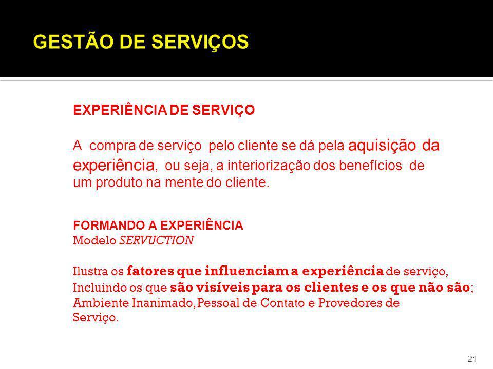 21 EXPERIÊNCIA DE SERVIÇO A compra de serviço pelo cliente se dá pela aquisição da experiência, ou seja, a interiorização dos benefícios de um produto