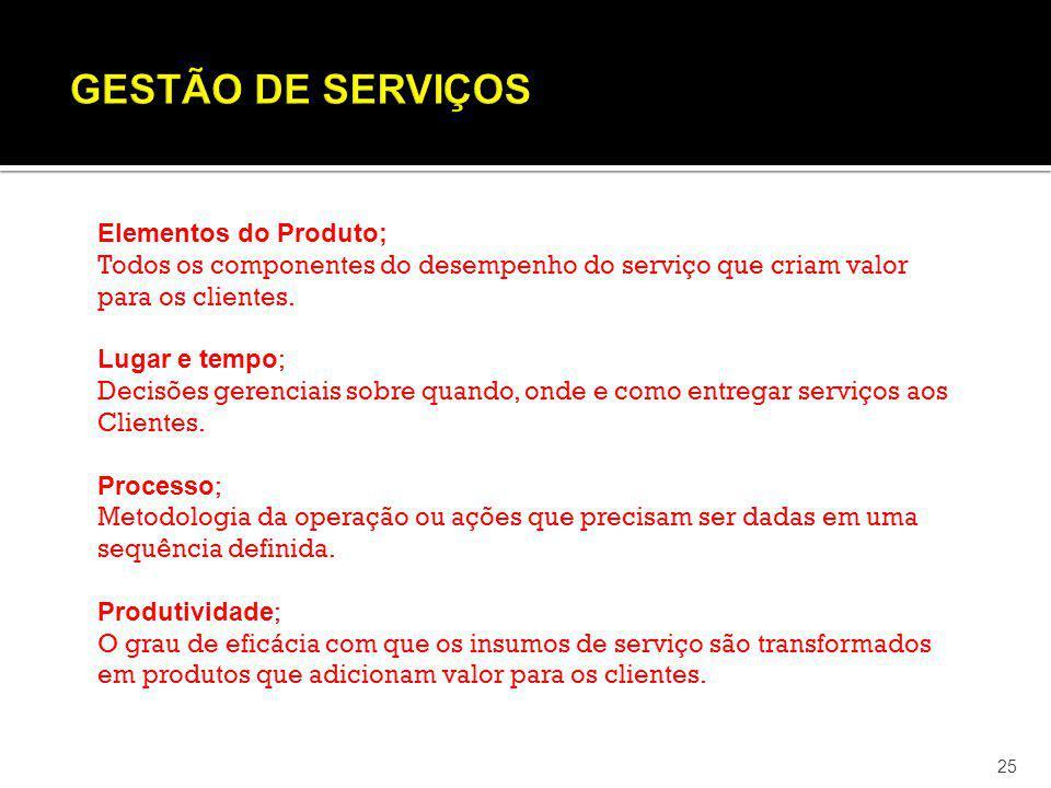 25 Elementos do Produto; Todos os componentes do desempenho do serviço que criam valor para os clientes. Lugar e tempo ; Decisões gerenciais sobre qua