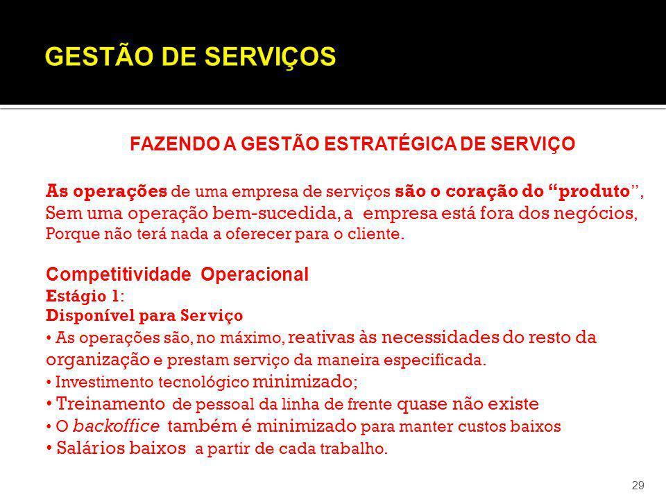 29 FAZENDO A GESTÃO ESTRATÉGICA DE SERVIÇO As operações de uma empresa de serviços são o coração do produto, Sem uma operação bem-sucedida, a empresa