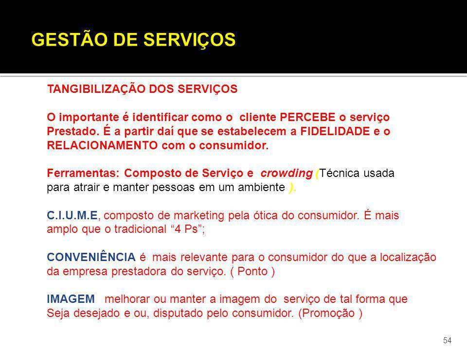 54 TANGIBILIZAÇÃO DOS SERVIÇOS O importante é identificar como o cliente PERCEBE o serviço Prestado. É a partir daí que se estabelecem a FIDELIDADE e