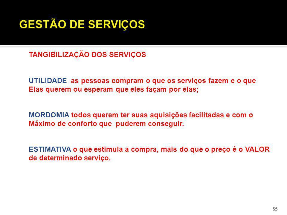 55 TANGIBILIZAÇÃO DOS SERVIÇOS UTILIDADE as pessoas compram o que os serviços fazem e o que Elas querem ou esperam que eles façam por elas; MORDOMIA t