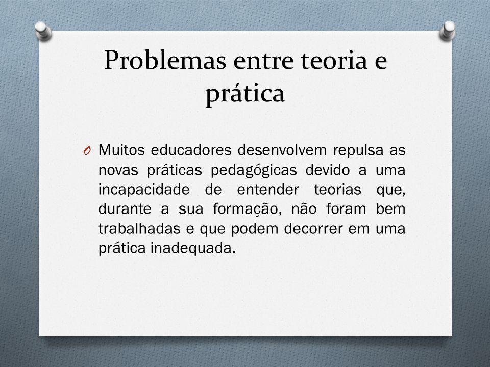 Problemas entre teoria e prática O Muitos educadores desenvolvem repulsa as novas práticas pedagógicas devido a uma incapacidade de entender teorias q