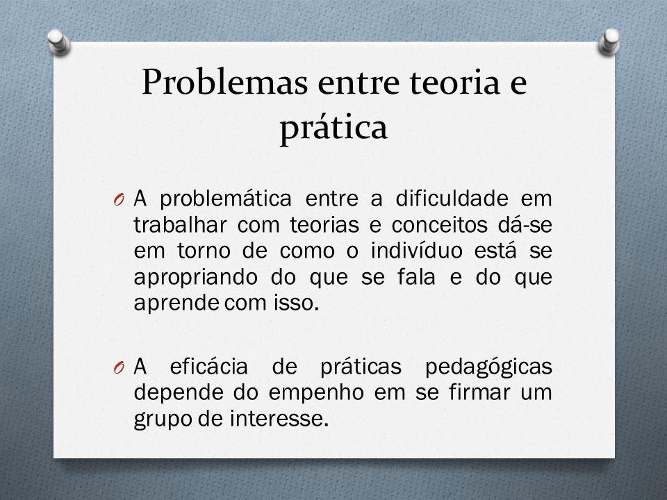 Problemas entre teoria e prática O A problemática entre a dificuldade em trabalhar com teorias e conceitos dá-se em torno de como o indivíduo está se