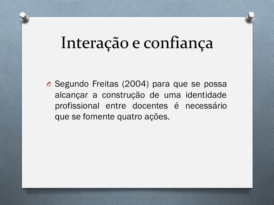 Interação e confiança O Segundo Freitas (2004) para que se possa alcançar a construção de uma identidade profissional entre docentes é necessário que