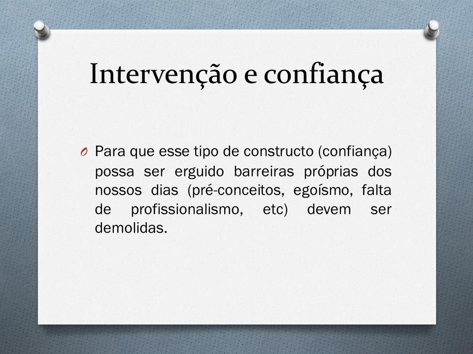 Intervenção e confiança O Para que esse tipo de constructo (confiança) possa ser erguido barreiras próprias dos nossos dias (pré-conceitos, egoísmo, f