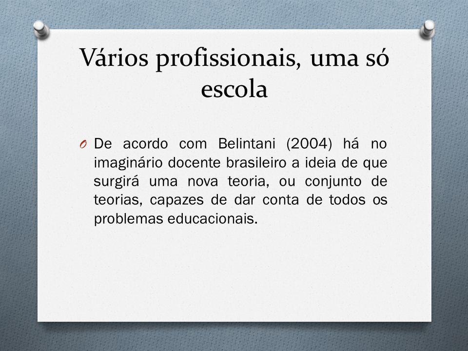 Vários profissionais, uma só escola O De acordo com Belintani (2004) há no imaginário docente brasileiro a ideia de que surgirá uma nova teoria, ou co