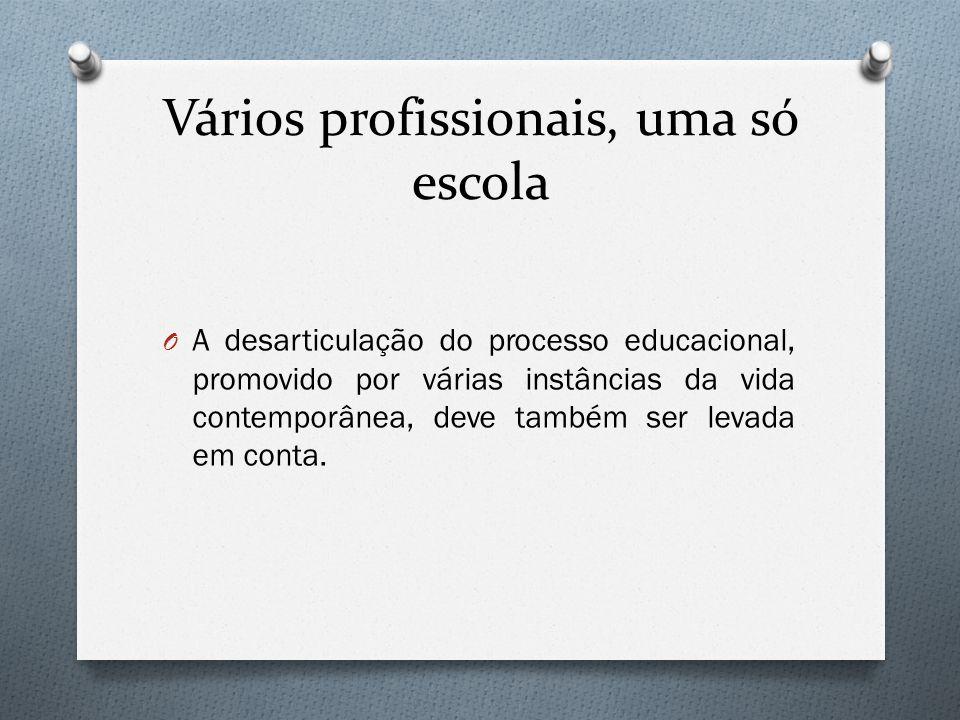 Vários profissionais, uma só escola O A desarticulação do processo educacional, promovido por várias instâncias da vida contemporânea, deve também ser