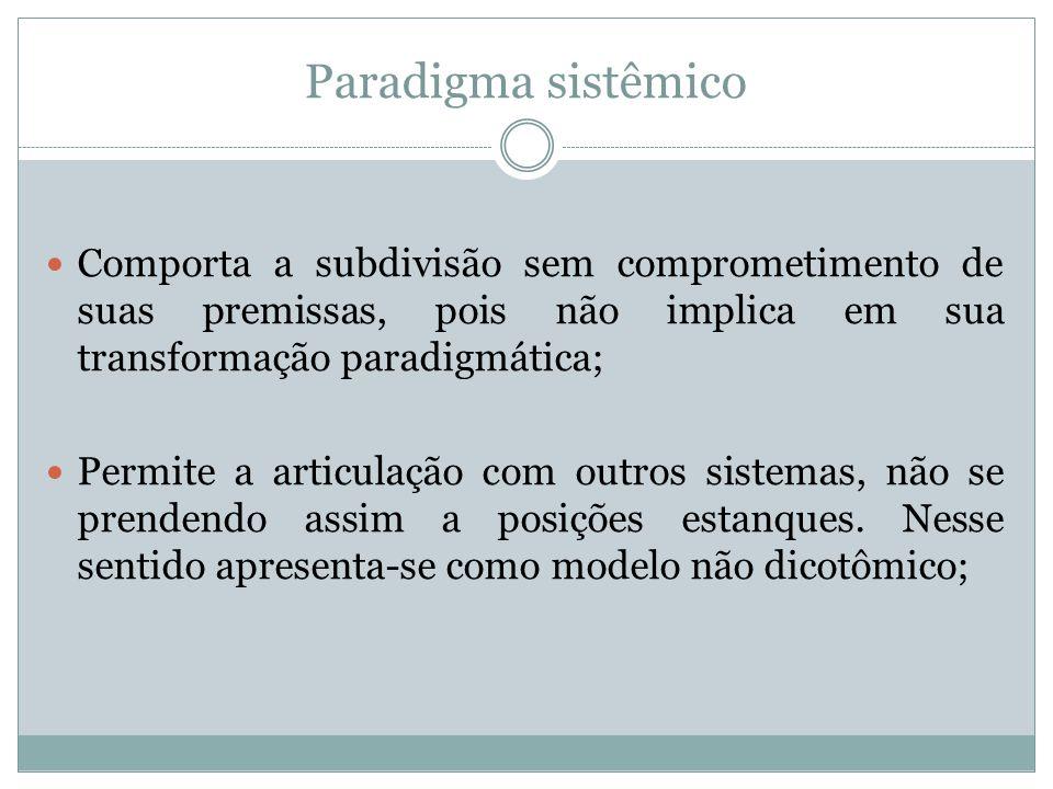 Paradigma sistêmico Comporta a subdivisão sem comprometimento de suas premissas, pois não implica em sua transformação paradigmática; Permite a articu