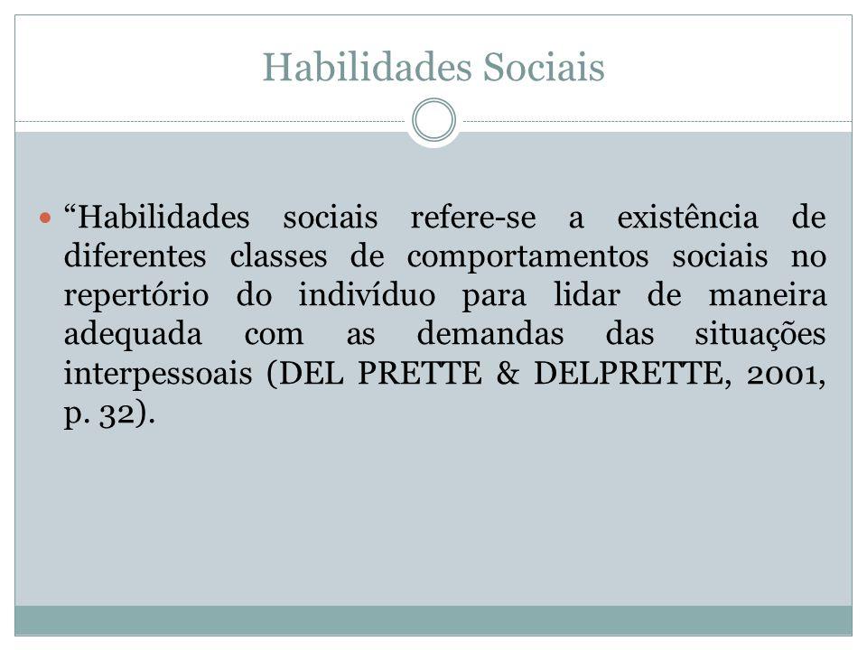 Habilidades Sociais Habilidades sociais refere-se a existência de diferentes classes de comportamentos sociais no repertório do indivíduo para lidar d