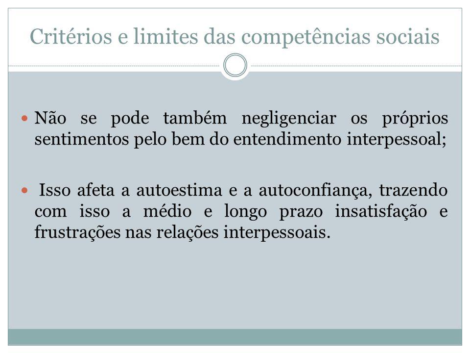 Critérios e limites das competências sociais Não se pode também negligenciar os próprios sentimentos pelo bem do entendimento interpessoal; Isso afeta