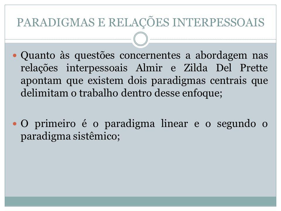 PARADIGMAS E RELAÇÕES INTERPESSOAIS Quanto às questões concernentes a abordagem nas relações interpessoais Almir e Zilda Del Prette apontam que existe