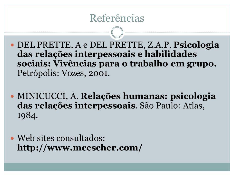 Referências DEL PRETTE, A e DEL PRETTE, Z.A.P. Psicologia das relações interpessoais e habilidades sociais: Vivências para o trabalho em grupo. Petróp