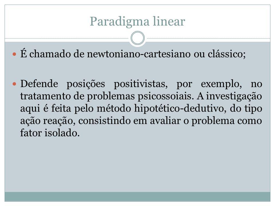 Paradigma linear É chamado de newtoniano-cartesiano ou clássico; Defende posições positivistas, por exemplo, no tratamento de problemas psicossoiais.