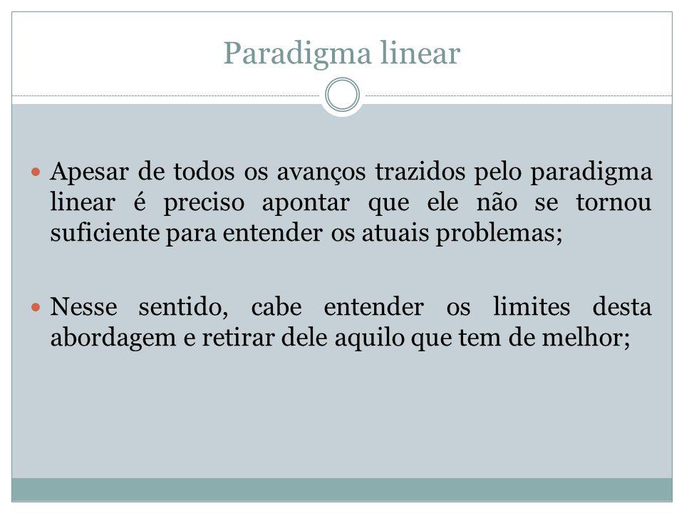 Paradigma linear Apesar de todos os avanços trazidos pelo paradigma linear é preciso apontar que ele não se tornou suficiente para entender os atuais