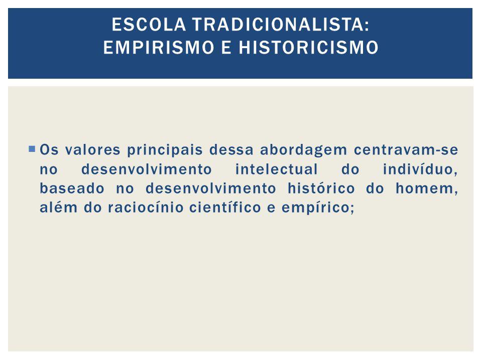 Os valores principais dessa abordagem centravam-se no desenvolvimento intelectual do indivíduo, baseado no desenvolvimento histórico do homem, além do raciocínio científico e empírico; ESCOLA TRADICIONALISTA: EMPIRISMO E HISTORICISMO