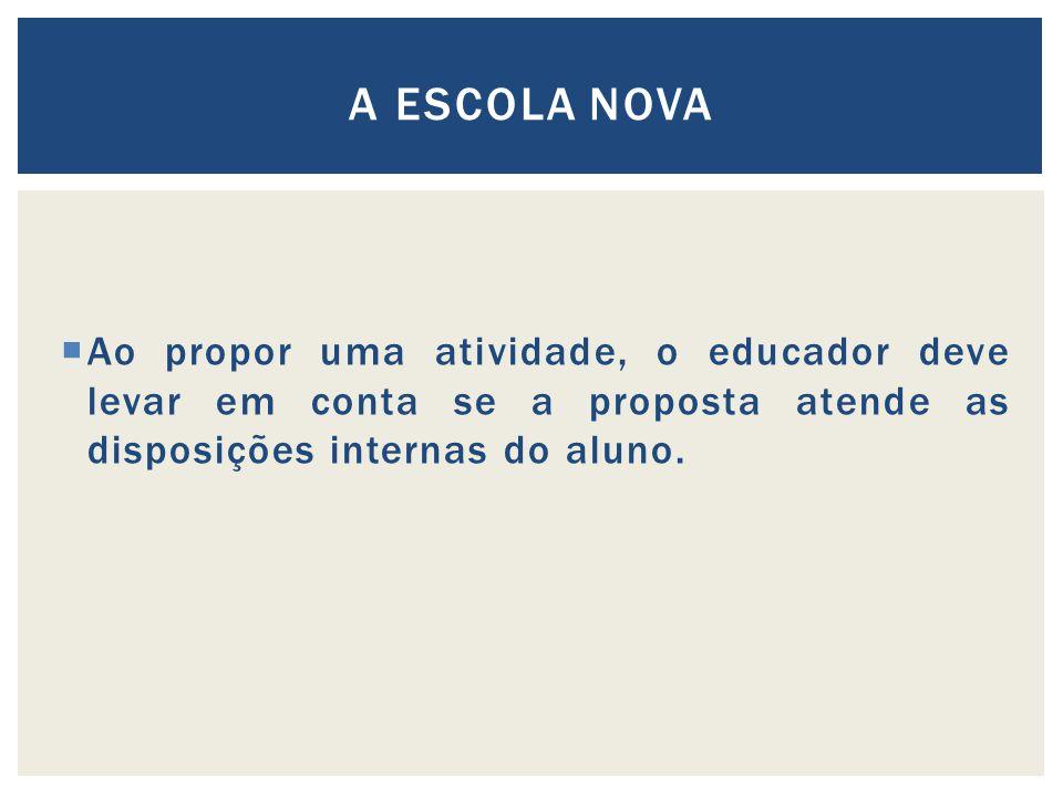 Ao propor uma atividade, o educador deve levar em conta se a proposta atende as disposições internas do aluno.