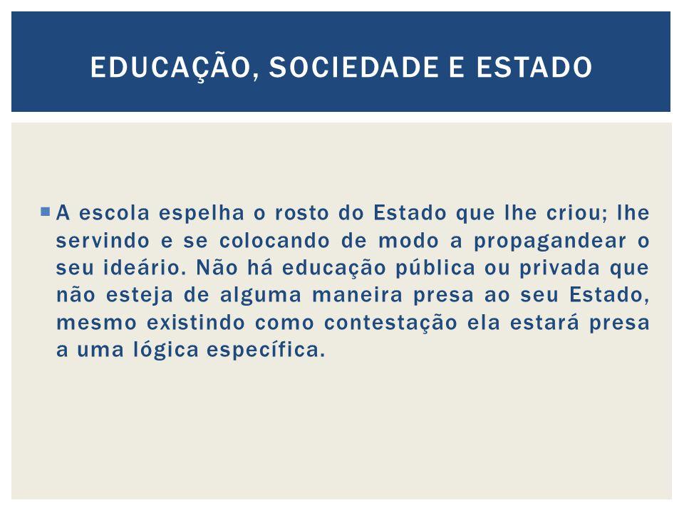 A escola espelha o rosto do Estado que lhe criou; lhe servindo e se colocando de modo a propagandear o seu ideário.