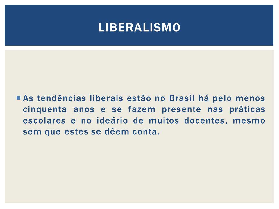 As tendências liberais estão no Brasil há pelo menos cinquenta anos e se fazem presente nas práticas escolares e no ideário de muitos docentes, mesmo sem que estes se dêem conta.