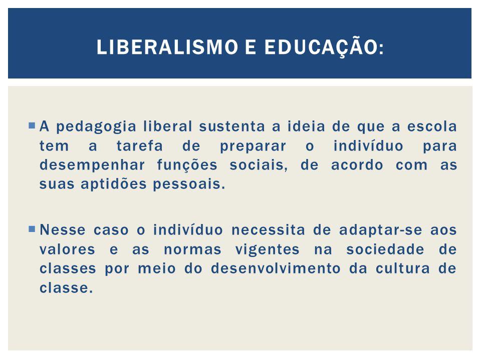 A pedagogia liberal sustenta a ideia de que a escola tem a tarefa de preparar o indivíduo para desempenhar funções sociais, de acordo com as suas aptidões pessoais.