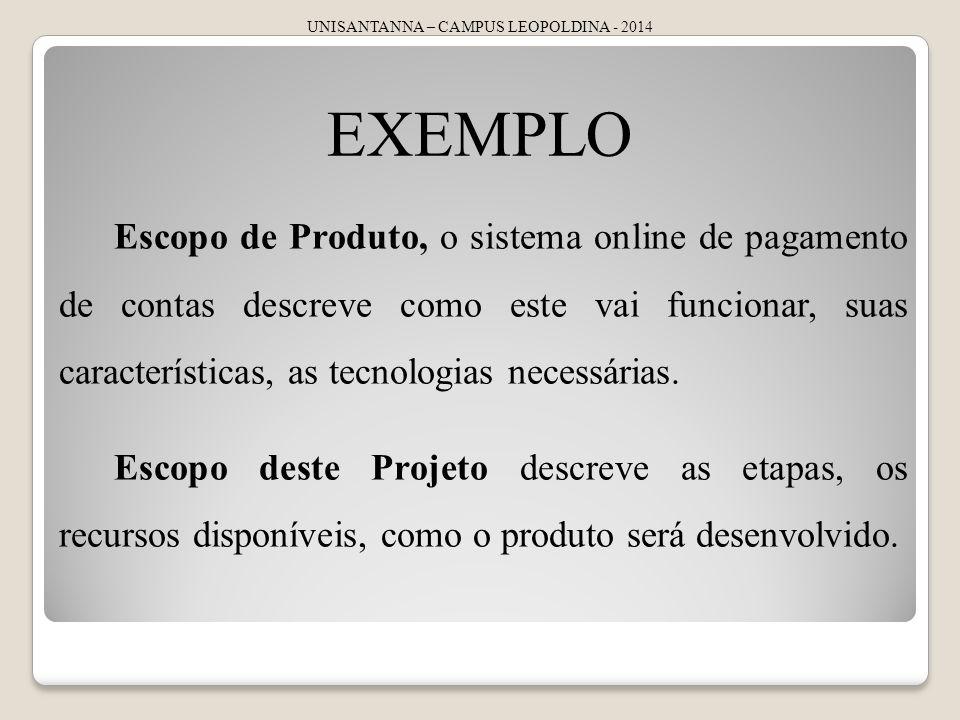 UNISANTANNA – CAMPUS LEOPOLDINA - 2014 EXEMPLO Escopo de Produto, o sistema online de pagamento de contas descreve como este vai funcionar, suas características, as tecnologias necessárias.