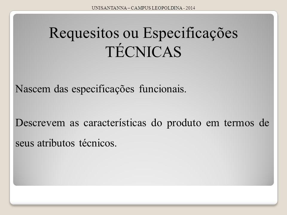 UNISANTANNA – CAMPUS LEOPOLDINA - 2014 Requesitos ou Especificações TÉCNICAS Nascem das especificações funcionais. Descrevem as características do pro