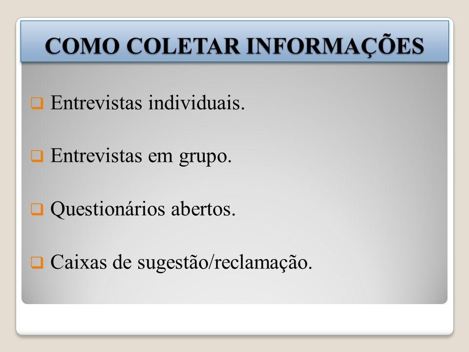 COMO COLETAR INFORMAÇÕES Entrevistas individuais.Entrevistas em grupo.
