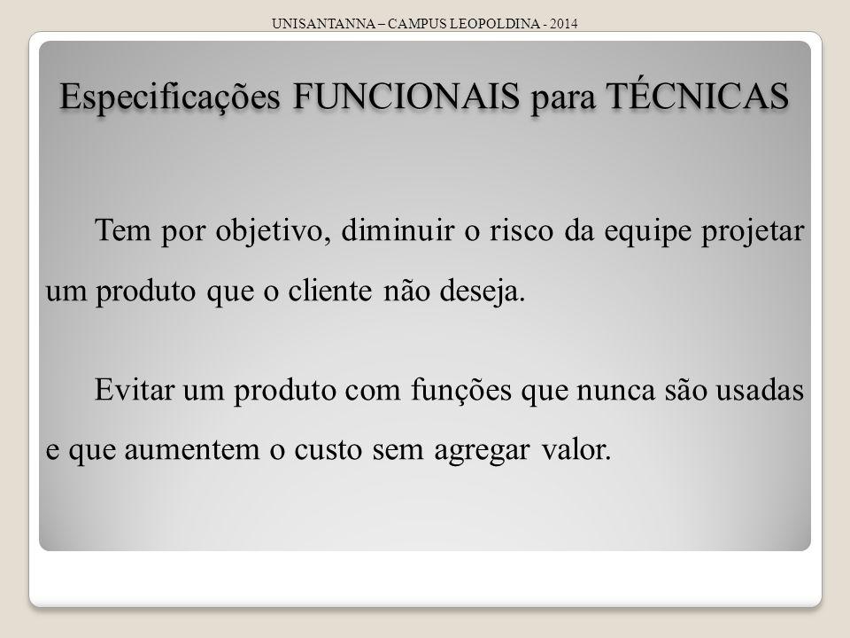 UNISANTANNA – CAMPUS LEOPOLDINA - 2014 Especificações FUNCIONAIS para TÉCNICAS Tem por objetivo, diminuir o risco da equipe projetar um produto que o cliente não deseja.