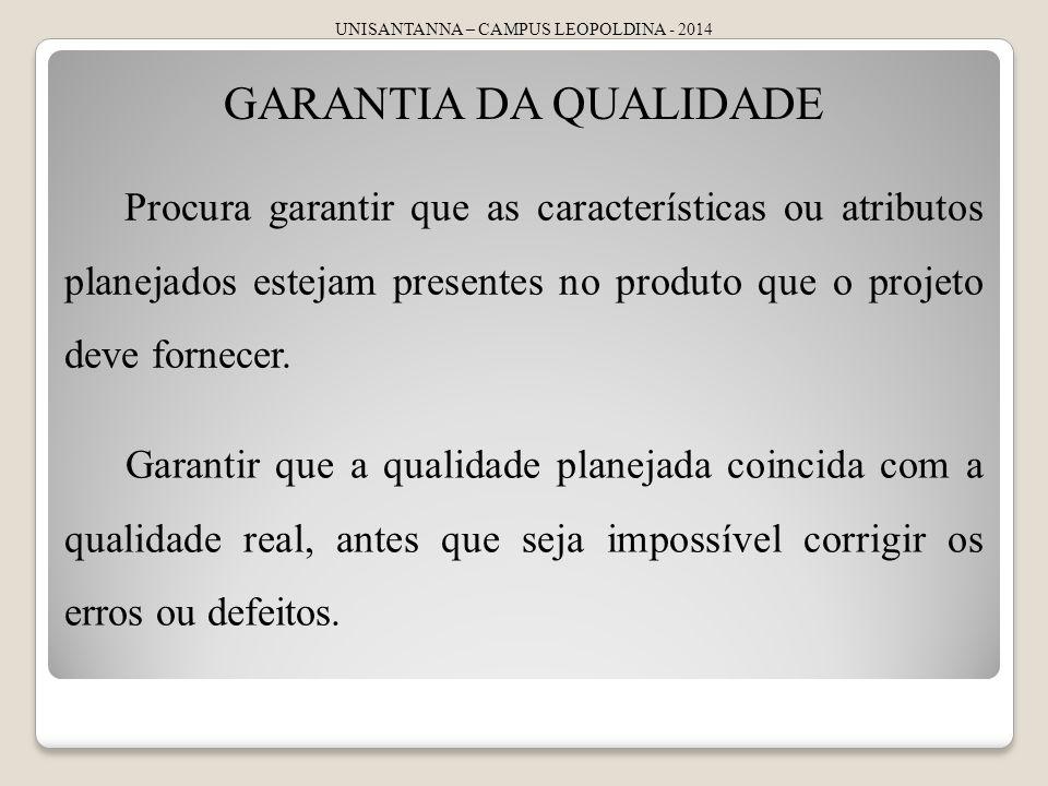 UNISANTANNA – CAMPUS LEOPOLDINA - 2014 GARANTIA DA QUALIDADE Procura garantir que as características ou atributos planejados estejam presentes no prod