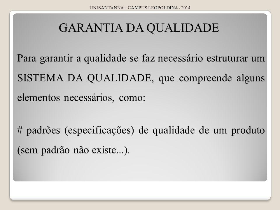 UNISANTANNA – CAMPUS LEOPOLDINA - 2014 GARANTIA DA QUALIDADE Para garantir a qualidade se faz necessário estruturar um SISTEMA DA QUALIDADE, que compr