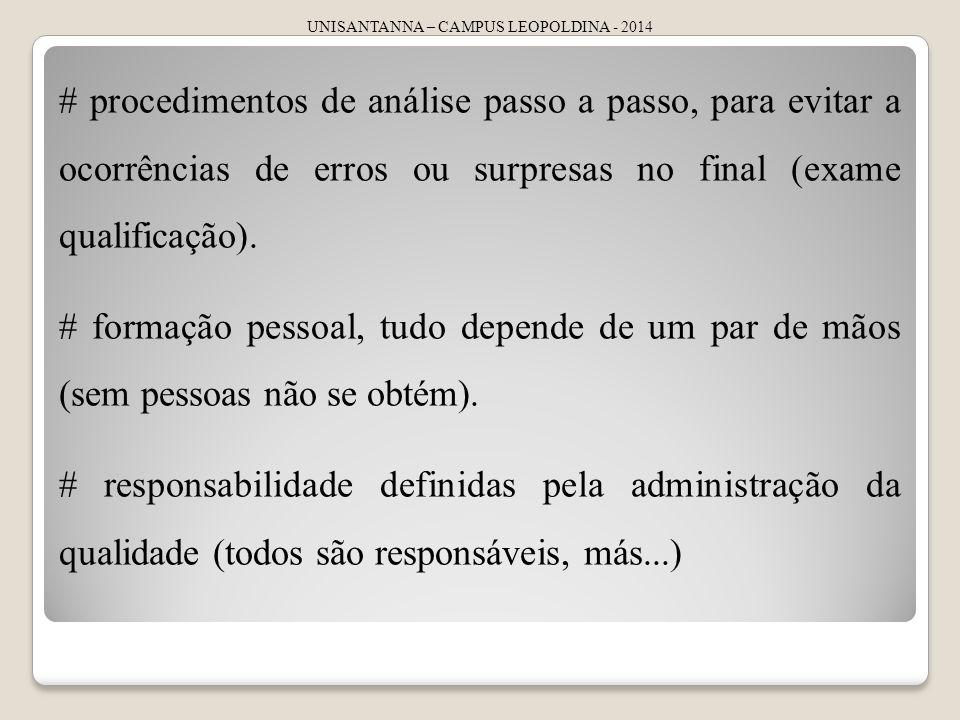 UNISANTANNA – CAMPUS LEOPOLDINA - 2014 # procedimentos de análise passo a passo, para evitar a ocorrências de erros ou surpresas no final (exame quali