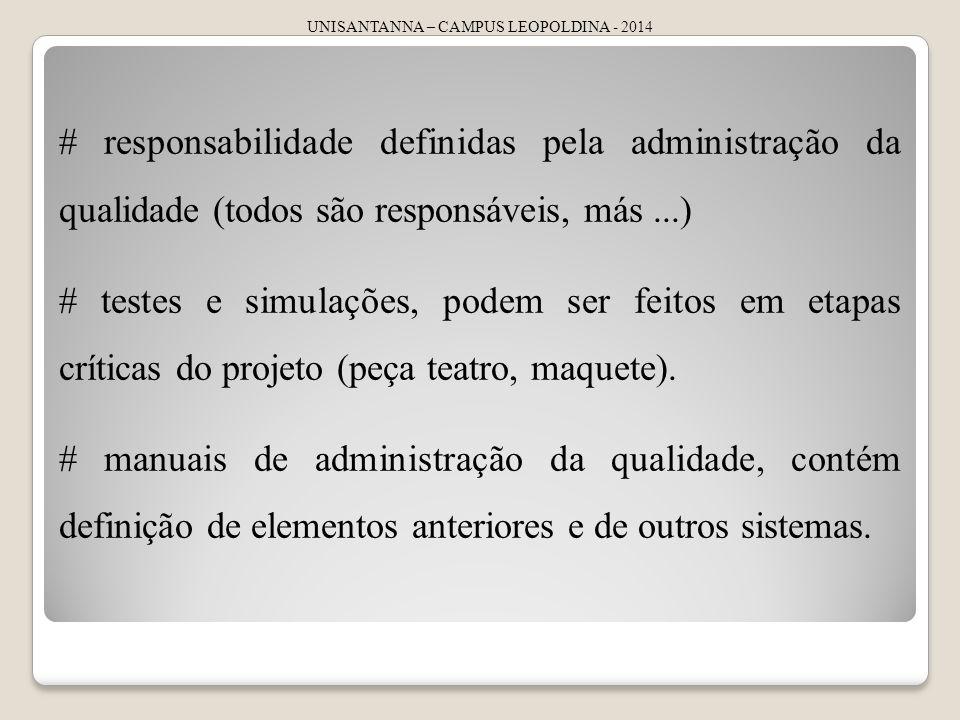 UNISANTANNA – CAMPUS LEOPOLDINA - 2014 # responsabilidade definidas pela administração da qualidade (todos são responsáveis, más...) # testes e simulações, podem ser feitos em etapas críticas do projeto (peça teatro, maquete).