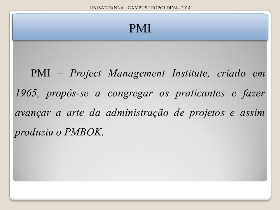 UNISANTANNA – CAMPUS LEOPOLDINA - 2014 PMI PMI – Project Management Institute, criado em 1965, propôs-se a congregar os praticantes e fazer avançar a arte da administração de projetos e assim produziu o PMBOK.