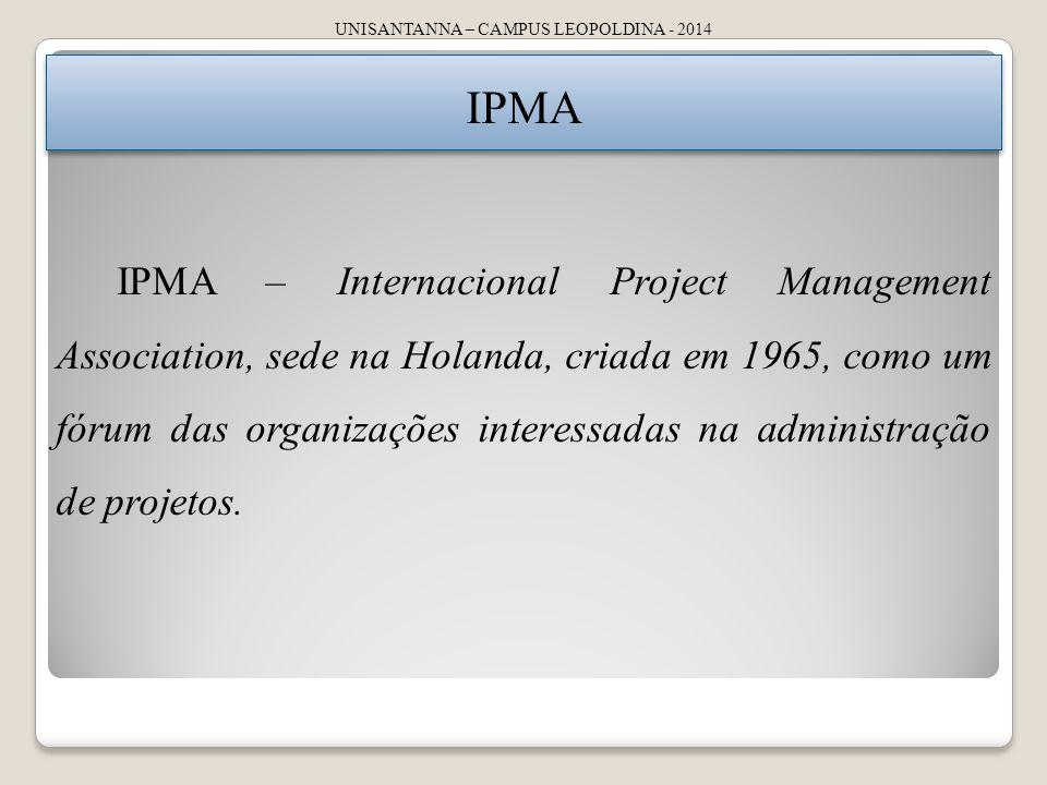 UNISANTANNA – CAMPUS LEOPOLDINA - 2014 IPMA IPMA – Internacional Project Management Association, sede na Holanda, criada em 1965, como um fórum das organizações interessadas na administração de projetos.