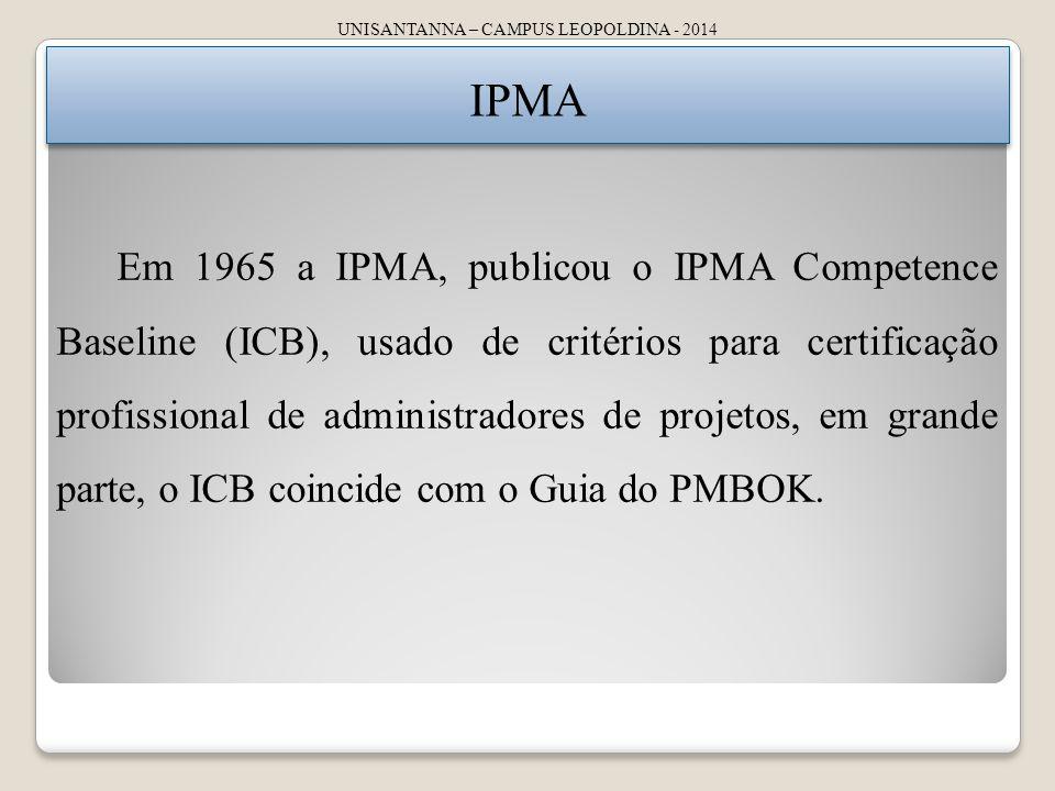 UNISANTANNA – CAMPUS LEOPOLDINA - 2014 IPMA Em 1965 a IPMA, publicou o IPMA Competence Baseline (ICB), usado de critérios para certificação profissional de administradores de projetos, em grande parte, o ICB coincide com o Guia do PMBOK.