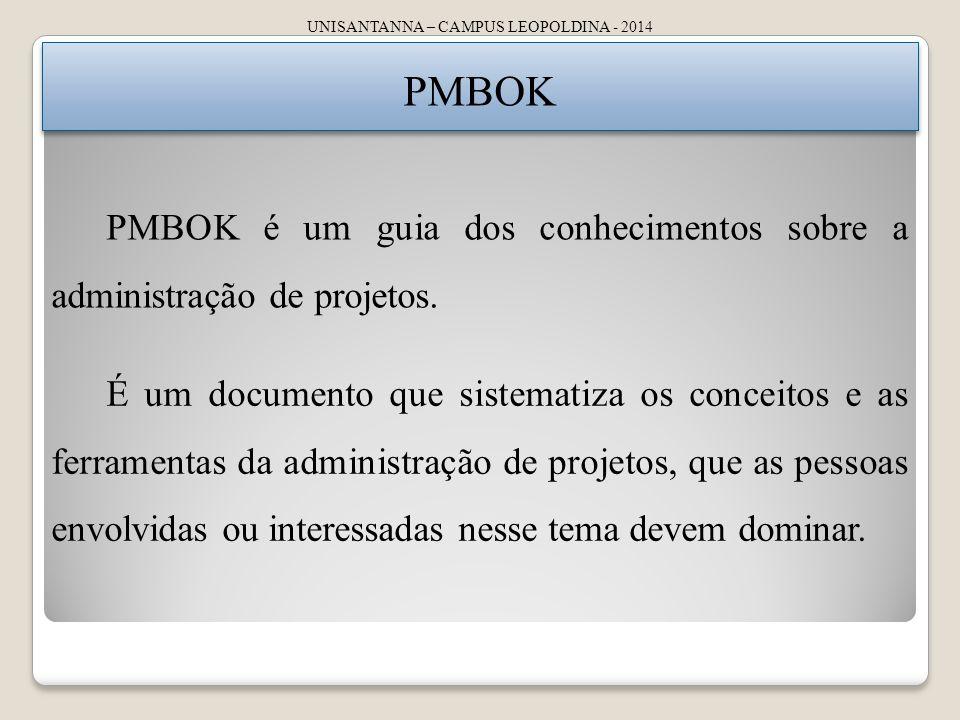 UNISANTANNA – CAMPUS LEOPOLDINA - 2014 PMBOK PMBOK é um guia dos conhecimentos sobre a administração de projetos. É um documento que sistematiza os co