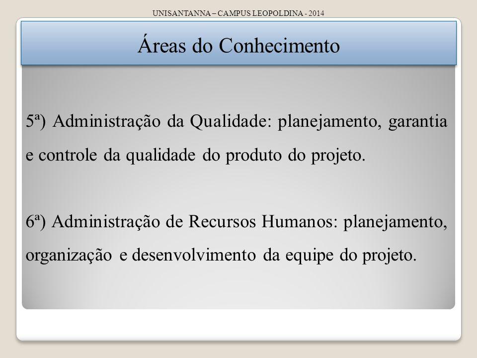 UNISANTANNA – CAMPUS LEOPOLDINA - 2014 Áreas do Conhecimento 5ª) Administração da Qualidade: planejamento, garantia e controle da qualidade do produto do projeto.