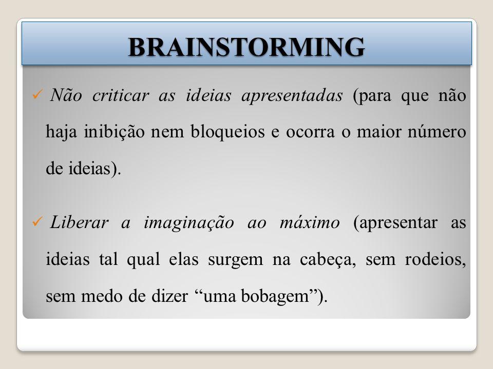 BRAINSTORMINGBRAINSTORMING Liberar a imaginação ao máximo (apresentar as ideias tal qual elas surgem na cabeça, sem rodeios, sem medo de dizer uma bobagem).