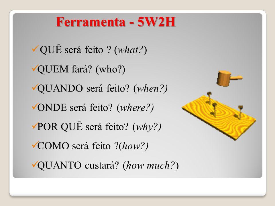 Ferramenta - 5W2H Ferramenta - 5W2H QUÊ será feito ? (what?) QUEM fará? (who?) QUANDO será feito? (when?) ONDE será feito? (where?) POR QUÊ será feito