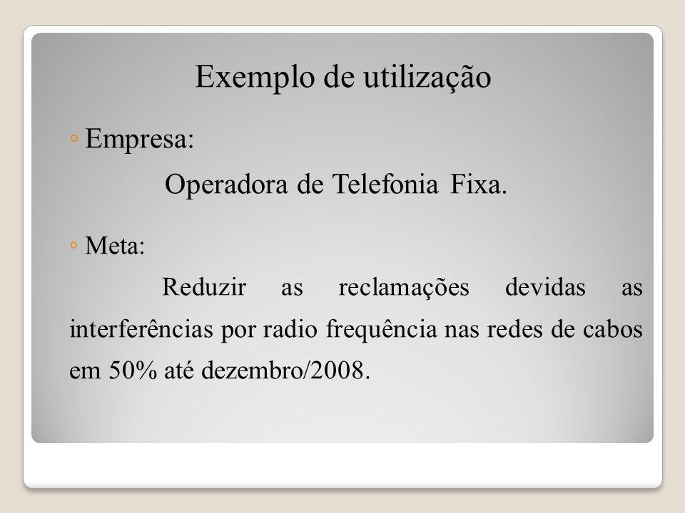 Exemplo de utilização Empresa: Operadora de Telefonia Fixa. Meta: Reduzir as reclamações devidas as interferências por radio frequência nas redes de c