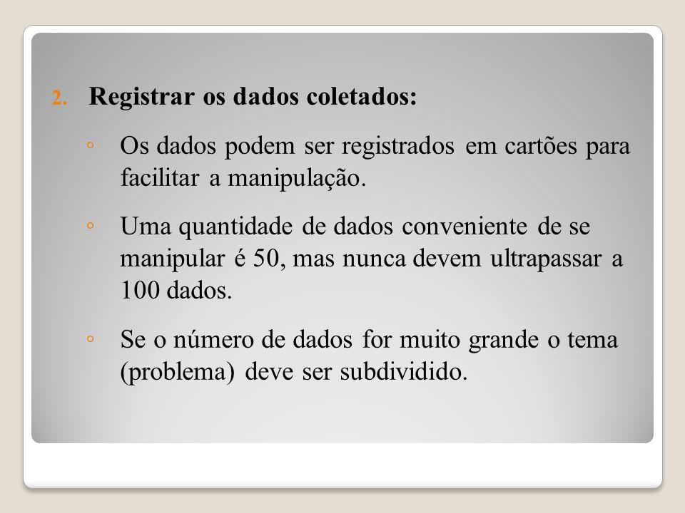 2. Registrar os dados coletados: Os dados podem ser registrados em cartões para facilitar a manipulação. Uma quantidade de dados conveniente de se man