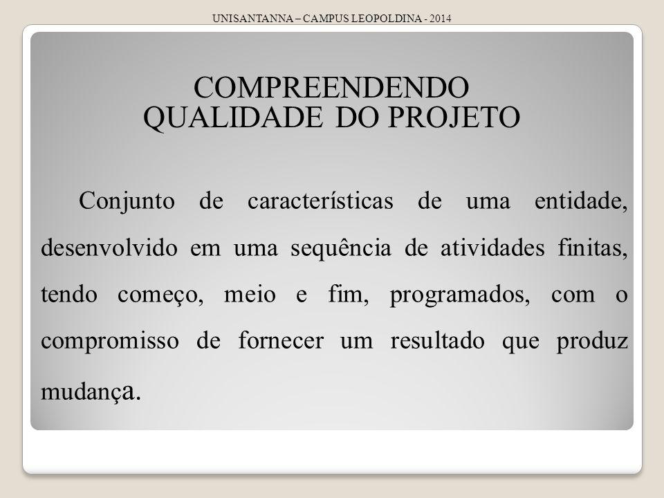 UNISANTANNA – CAMPUS LEOPOLDINA - 2014 COMPREENDENDO QUALIDADE DO PROJETO Conjunto de características de uma entidade, desenvolvido em uma sequência d